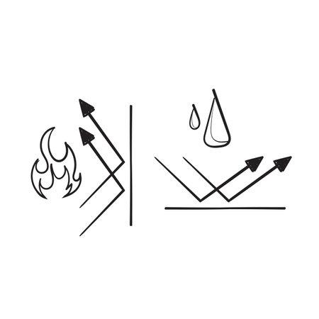 Illustration pour hand drawn doodle fireproof and waterproof element symbol illustration vector - image libre de droit