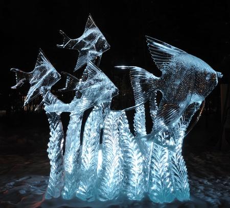 Fairbanks, Alaska, March 9, 2010: Tropical Fish Ice Sculpture, 2010 World Ice Art Championships