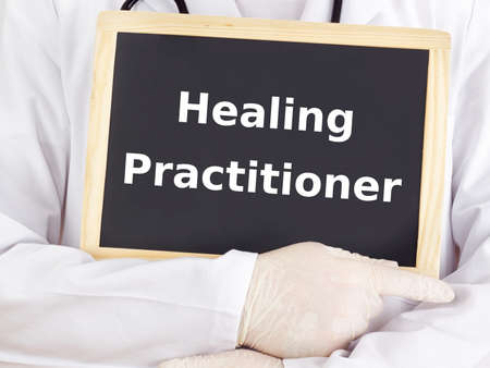 Doctor shows information: healing practitioner