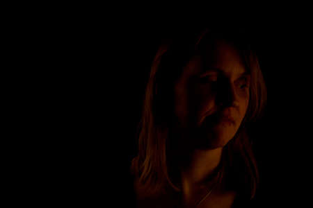 Woman in the darkness