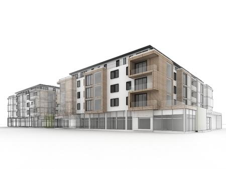 Foto de apartment building design progress, architecture visualization in mixed drawing and photo realistic style  - Imagen libre de derechos
