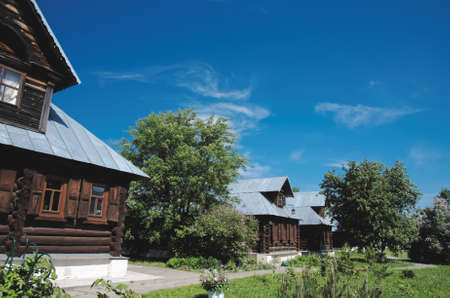 SUZDAL, RUSSIA - MAY 30 2015. Wooden house at Pokrivskaya street in the monastery May 30, 2015 in Suzdal.