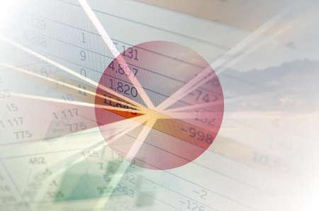 Photo pour Japan economy concept - Financial data on Japan flag - image libre de droit