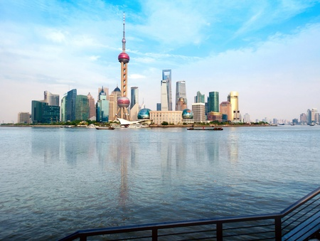 Shanghai city view, with oriental pearl tower, landmark of Shanghai, beside huangpu riv