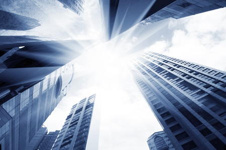 abstract glass skyscrapers at night