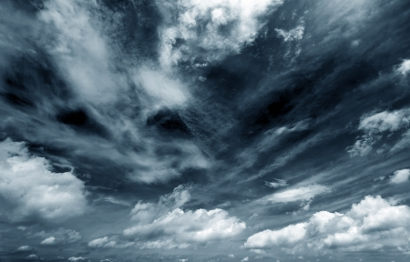 Background of dark clouds before a thunder-stormの写真素材