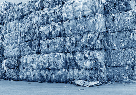 Photo for Plastic bottles pressed and packed for recycling - Royalty Free Image