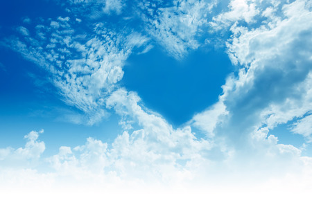 Sky, clouds, forming a heart shape.