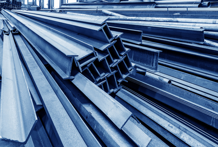 Photo pour Steel factory floor, stacked with a lot of steel - image libre de droit