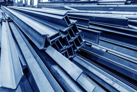 Foto für Steel factory floor, stacked with a lot of steel - Lizenzfreies Bild