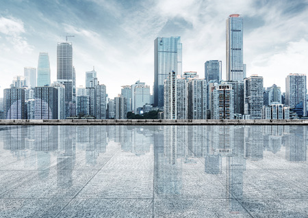 Photo for empty marble floor with cityscape and skyline in cloud sky - Royalty Free Image
