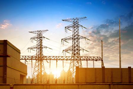 Photo pour high voltage post.High-voltage tower sky background. - image libre de droit
