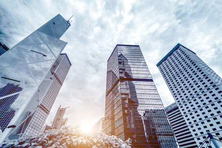Photo for Toned image of modern office buildings in central Hong Kong. - Royalty Free Image