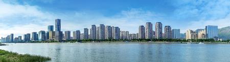 Photo pour The CBD by the river in Fuzhou, Fujian, China. - image libre de droit