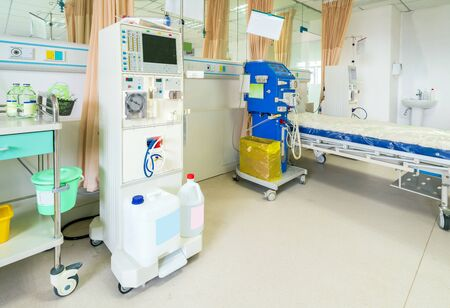 Hemodialysis machines with tubing and installations. Health care, blood purification, kidney failure, transplantation, medical equipment concept.