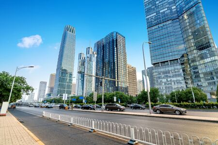 Photo pour The city's tall buildings and high-speed cars, the urban landscape of Beijing, China. - image libre de droit
