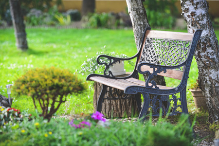 Nice bench in the garden in the summer