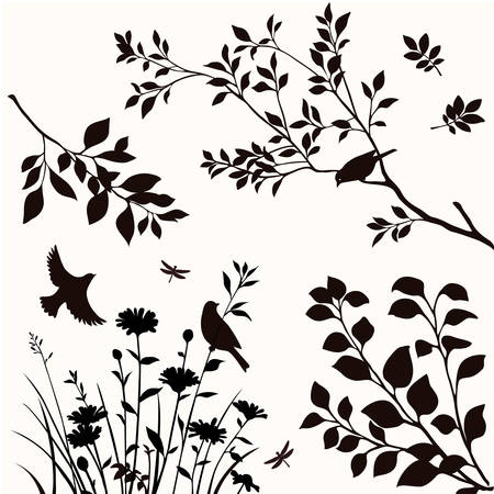 Illustration for Vector set of silhouttes of birds, twigs and flowers. - Royalty Free Image