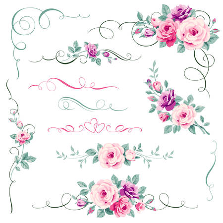 Illustration for Set of floral calligraphic elements - Royalty Free Image