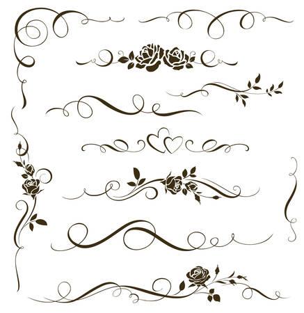 Illustration pour Set of floral calligraphic elements. Decorative roses - image libre de droit