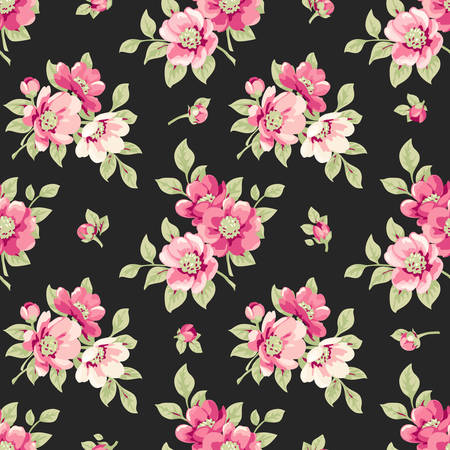 Illustration pour Seamless pattern with pink flowers. Vintage floral pattern with blooming flowers - image libre de droit