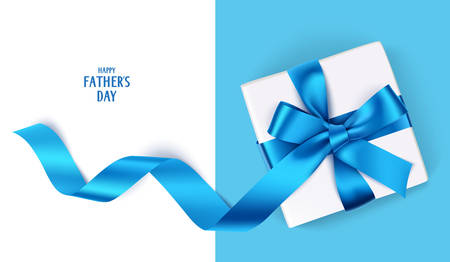 Illustration for Father's Day template with gift box and blue bow - Royalty Free Image