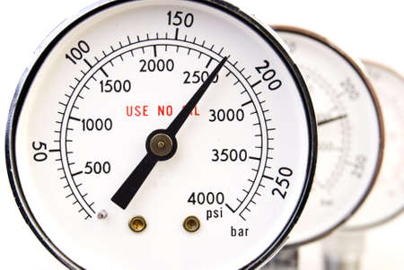 Close up of manometer isolated on white