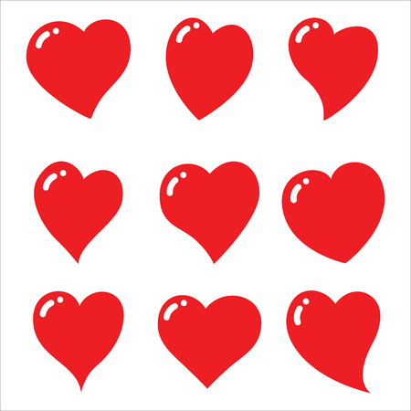 Illustration for Red heart icons set - vector and illustration - Royalty Free Image