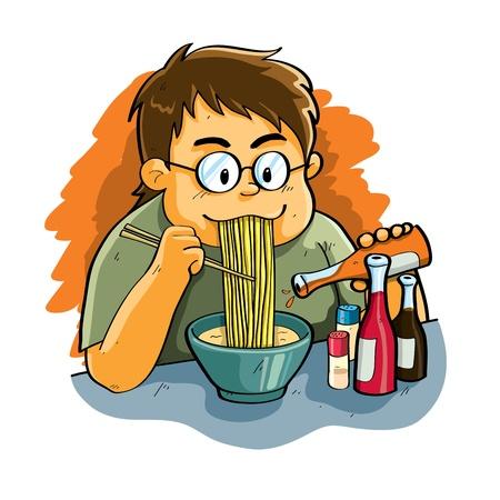 Man Eating Noodle