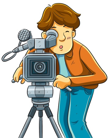Cameraman Shoot The Cinema with Movie Camera