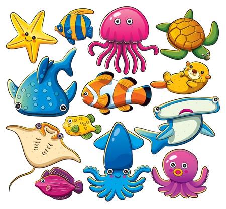 Illustration pour Sea Animals Collection - image libre de droit