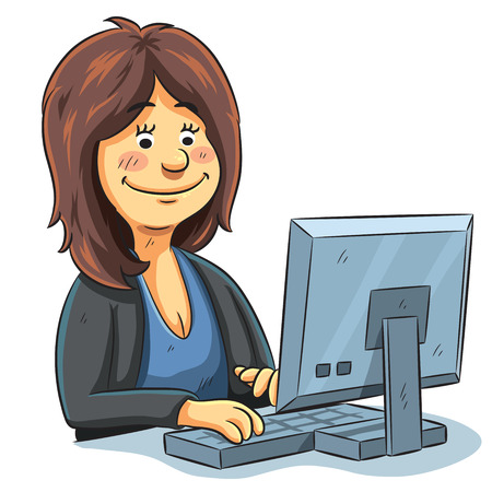 cartoon illustration of a editor working in front of computer
