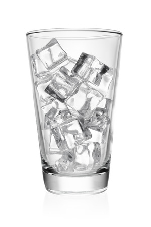 Photo pour Empty transparent glass with ice cube rocks isolated on white background. - image libre de droit