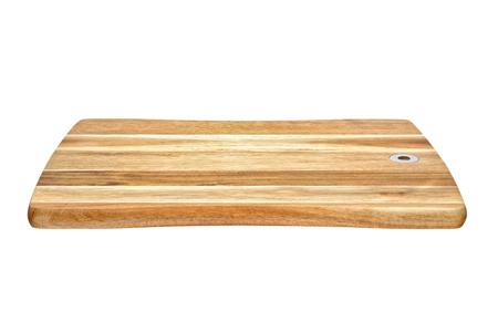 Foto de Brown wooden chopping board isolated on white background. Side view - Imagen libre de derechos