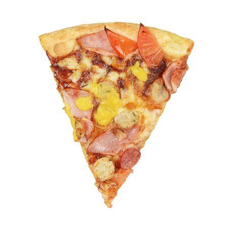 Photo pour Piece of pizza with jalapeno, mozzarella, parmesan, bavarian sausages, tomato sauce isolated on white background - image libre de droit