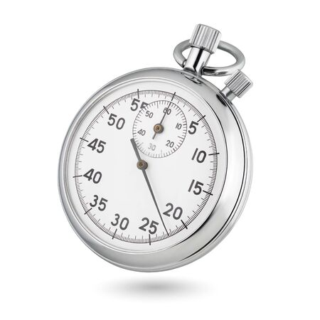 Photo pour Classic metallic chrome mechanical analog stopwatch isolated on white background. - image libre de droit