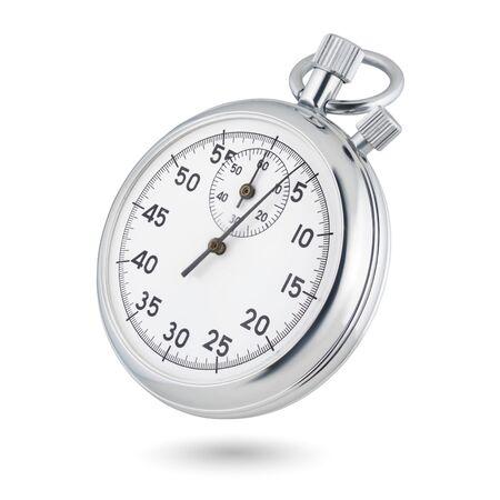 Foto de Classic metallic chrome mechanical analog stopwatch isolated on white background. - Imagen libre de derechos