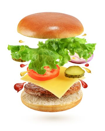 Photo for Flying burger with beef patty, cheese, pickles, tomato, onion and lettuce isolated on white background - Royalty Free Image