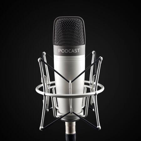 Photo pour Silver studio condenser microphone with podcast word on black background - image libre de droit
