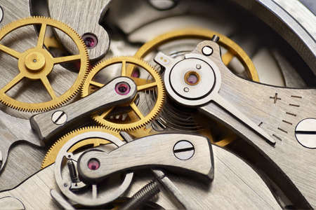 Photo pour Analog mechanical stopwatch mechanism gears inside. Macro shot. - image libre de droit