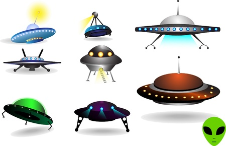 space collection of colorful various flying saucers