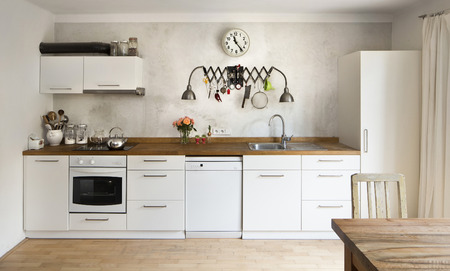 Photo pour New kitchen in old school industrial style - image libre de droit