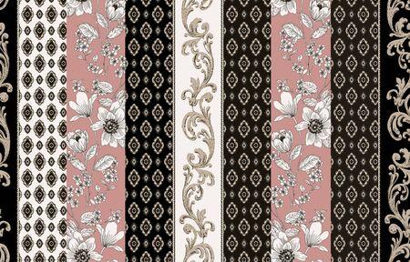 Photo pour baroque flowers ethnic pattern - image libre de droit