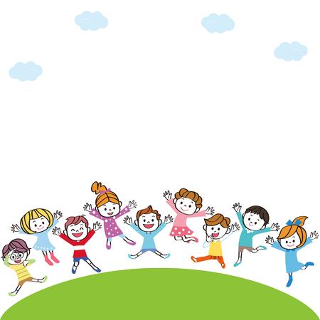 Illustration pour Kids jumping on the hill - image libre de droit