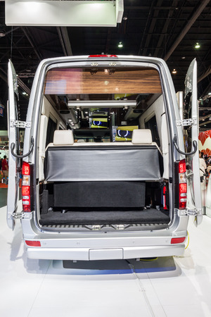 Nonthaburi,Thailand - March 26th, 2015: Rear space of Benz Airstream Interstate Ext, a perfect for travelers in search of versatility and space,showed in Thailand the 36th Bangkok International Motor Show on 26 March 2015