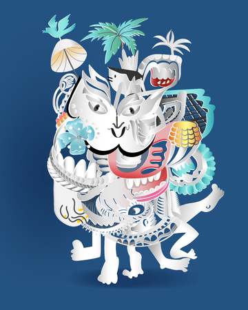 Illustration pour Abstract doodle cartoon like a dancing on blue background, vector illustration. - image libre de droit
