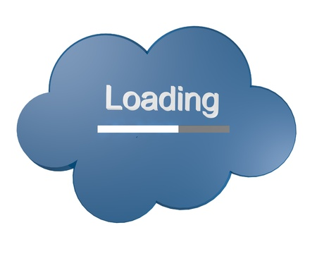 Blue cloud icon with Loading text and progress bar symbolic