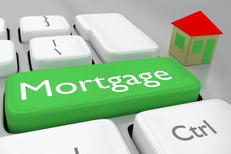 Render illustration of computer keyboard withthe print Mortgage on a green button, and a house nearby