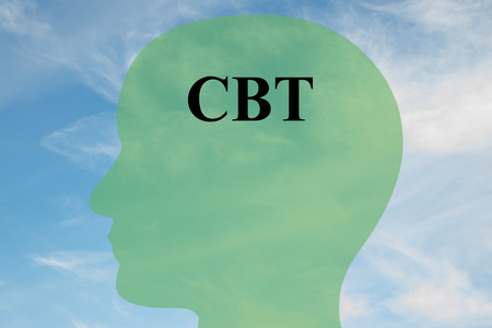 Photo for Render illustration of CBT script on head silhouette, with cloudy sky as a background. Human mentality concept. - Royalty Free Image