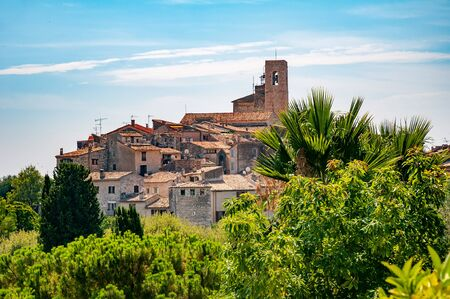 Photo for Panoramic view of Saint-Paul-de-Vence town in Provence, France. It is a medieval village, popular tourist attraction known as 'village perches' (village-fortress) and town of arts - Royalty Free Image